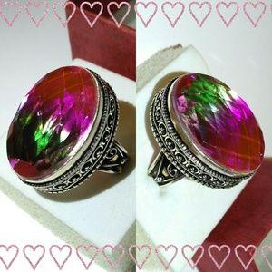 Watermelon Ametrine Quartz Handmade Vintage Ring